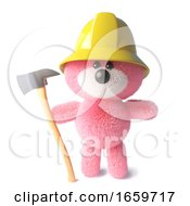 Firefighter Teddy Bear With Pink Fluffy Fur Wearing Firemans Hat And Holding An Axe by Steve Young