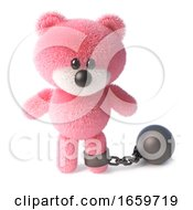 Naughty Pink Fluffy Teddy Bear Character Has To Wear A Ball And Chain by Steve Young