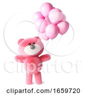 Pink Fluffy Teddy Bear Character Celebrates With Pink Party Balloons by Steve Young