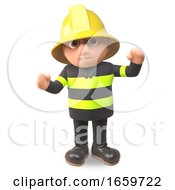 Cartoon 3d Fireman Firefighter Character In High Visibility Clothing Cheers With Joy by Steve Young