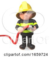 3d Fireman Firefighter Character Holding A Fire Hose To Fight A Blaze by Steve Young