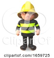 3d Cartoon Fireman Firefighter Character In High Visibility Clothing by Steve Young