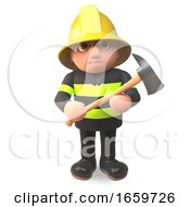 Fireman Firefighter Character Holding A Fire Axe by Steve Young