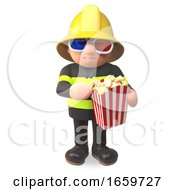 Poster, Art Print Of Firefighter Fireman Character In High Visibility Clothing Eating Popcorn While Watching 3d Movie