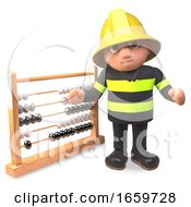 Cartoon Fireman Firefighter Character Points To An Abacus