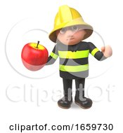 3d Firefighter Fireman Character In High Visibility Clothing Eating A Red Apple by Steve Young