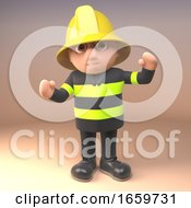 Heroic Cartoon Firefighter Fireman Character In High Visibility Clothing Cheers by Steve Young