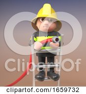 Brave Firefighter Fireman Character In High Visibility Clothing Standing On A Ladder And Aiming A Fire Hose At A Blaze by Steve Young