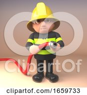 Brave Fireman Firefighter Character In 3d Wearing High Visibility Clothing And Holding A Fire Hose by Steve Young