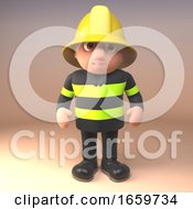 3d Firefighter Fireman Character Standing Prepared For Any Emergency by Steve Young