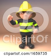 Firefighter Fireman Character In High Visibility Clothing And Helmet Waves Hello by Steve Young