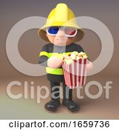 Poster, Art Print Of Firefighter In High Visibility Clothing Eating Popcorn While Watching A 3d Movie