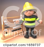 Firefighter Fireman In Safety Gear Points To An Abacus by Steve Young