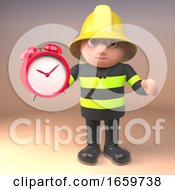 Brave Fireman Firefighter Character Holding An Alarm Clock by Steve Young