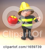 Cartoon Fireman Firefighter Character In High Visibility Clothing Holding An Apple by Steve Young