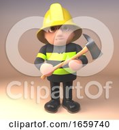 Brave Fireman Firefighter Character In High Visibility Clothing And Helmet Holding A Fire Axe by Steve Young