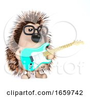 Poster, Art Print Of 3d Hedgehog Plays Electric Guitar