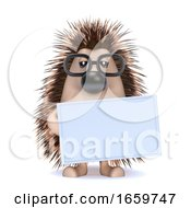 3d Hedgehog With A Blank Banner by Steve Young