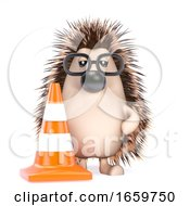 3d Hedgehog With A Traffic Cone