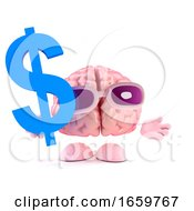3d Brain Character Holds US Dollar Symbol by Steve Young
