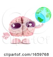 3d Brain Character Holds A Globe Of The Earth by Steve Young
