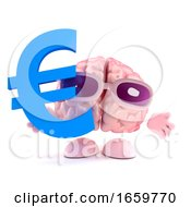 3d Brain Character Holds Euro Currency Symbol by Steve Young