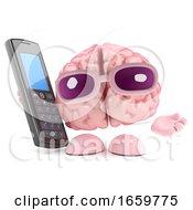 3d Brain Maks A Call On A Cellphone