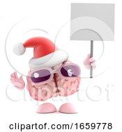 3d Santa Brain Holding A Placard
