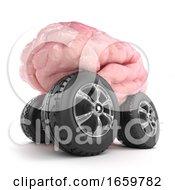 3d Brain On Wheels