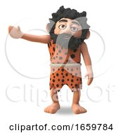 Mighty Caveman 3d Cartoon Character Gestures To The Right With His Arm by Steve Young