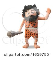 Dumb Cartoon 3d Caveman In Animal Pet Waving Hello And Carrying A Barbaric Club by Steve Young