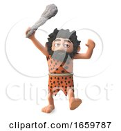 Saveage 3d Cartoon Caveman Character Chasing His Prey With Mighty Club Raised In The Air by Steve Young