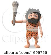 Stupid Caveman 3d Cartoon Character Raises His Brutal Club For Violence by Steve Young