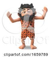 Primitive Caveman 3d Character Is Cheering With Prehistoric Joy by Steve Young