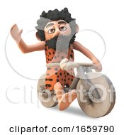 Silly Stone Age Caveman Riding On His Homemade Stone Bike by Steve Young