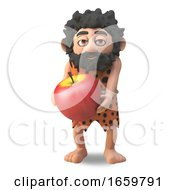 Caveman 3d Cartoon Character Carrying A Giant Prehistoric Apple by Steve Young