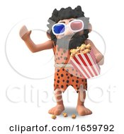 Poster, Art Print Of Savage Cartoon 3d Caveman Eating Popcorn While Watching A 3d Movie