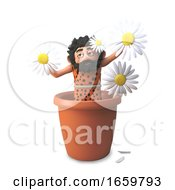 Silly 3d Caveman Is Pretending To Be A Daisy Flower In A Pot