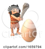 Poster, Art Print Of Funny Caveman In 3d Wearing An Animal Pelt And Swinging His Club To Crack A Dinosaur Egg