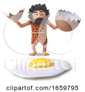 Poster, Art Print Of Stupid Caveman In 3d Who Has Cracked And Fried A Dinosaur Egg
