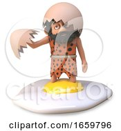 Poster, Art Print Of 3d Caveman Wearing Animal Pelt Has Fried A Dinosaur Egg And Stood In It By Mistake