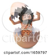 Poster, Art Print Of Funny Caveman 3d Wearing Animal Pelt And Playing Inside A Hatched Dinosaur Egg