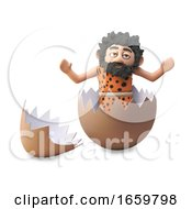 Poster, Art Print Of Funny Cartoon 3d Caveman Has Hatched From A Dinosaur Egg