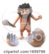 Poster, Art Print Of 3d Cartoon Funny Caveman Finds The Cracked Shell Of A Dinosaur Egg