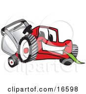 Red Lawn Mower Mascot Cartoon Character Smiling And Eating Grass