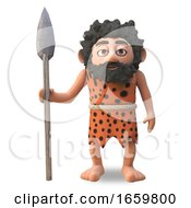 Dumb Caveman 3d Cartoon Character Standing Still With Primitive Spear To Hand by Steve Young