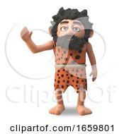 Harmless Caveman 3d Cartoon Character Waves Amiably With His Right Hand by Steve Young