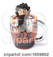 Drunk 3d Caveman Climbs Out Of A Glass Pint Of Beer Ale