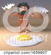 Poster, Art Print Of Caveman Savage Character Cracks A Giant Dinosaur To Fry For Breakfast