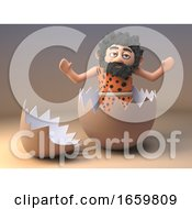 Poster, Art Print Of Silly Caveman Savage Character Plays Around In A Empty Cracked Eggshell